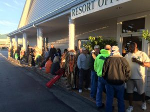 People waiting in line to make reservations during our Hallow-Scream Weekend in October.