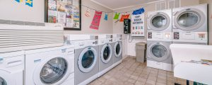 A photo of the inside of our laundry room with 5 washers and 4 dryers.