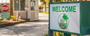 A photo of our welcome sign and front gate at the entrance to the resort.