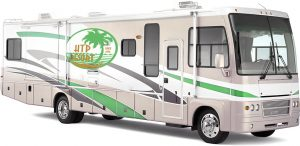 A holiday travel park resort RV with an htp decal on the side.